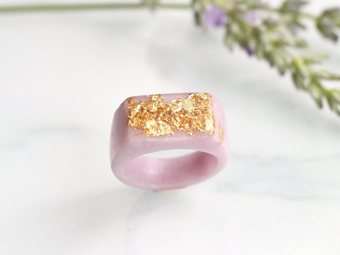 Soft Pink Sparkle Signet Ring